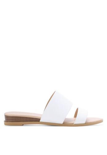 ZALORA white Low Wedge Double Strap Sliders A48BASH1406BC6GS_1