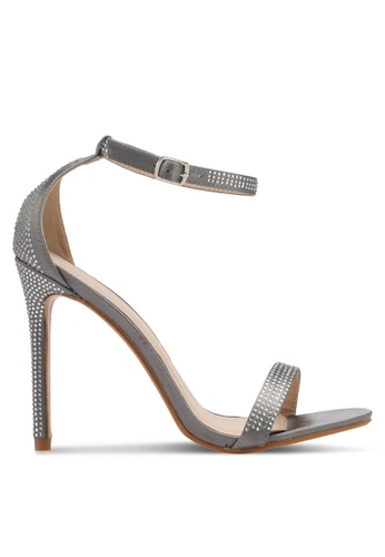 Public Desire grey Lana Diamante Detail Barely There Heels PU378SH0SIPTMY_1