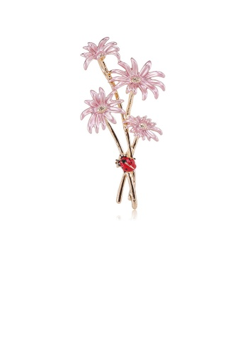 Glamorousky silver Simple and Fashion Plated Gold Pink Flower Brooch 134D5AC7D59583GS_1