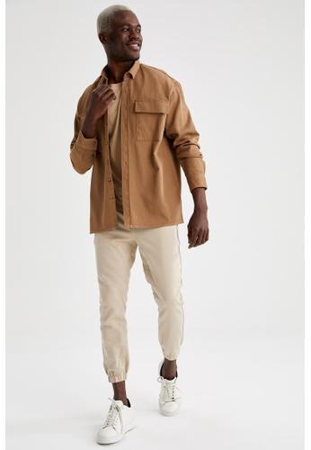 DeFacto beige Plain Regular Jogger Trousers 829D0AAEFCCEC2GS_1