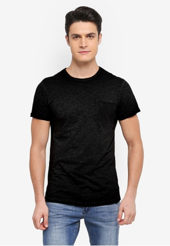 Indicode Jeans 黑色 水洗感口袋T恤 2F8E4AADB67878GS_1