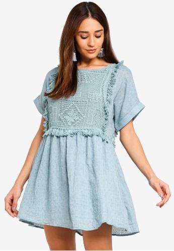 INDIKAH blue Crochet Babydoll Shift Dress 018ECAAD7766D7GS_1