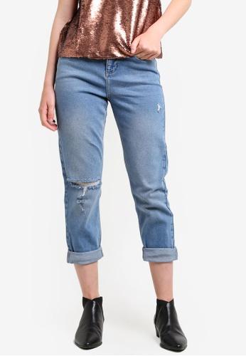 Miss Selfridge blue Petite Mom Ripped Jeans MI665AA65EBIMY_1