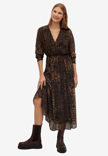 Mango brown Printed Pleated Dress 0A31EAA8F2D15EGS_1
