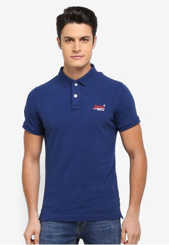 Superdry blue Classic Pique Polo Tee 56B60AAD1320F7GS_1