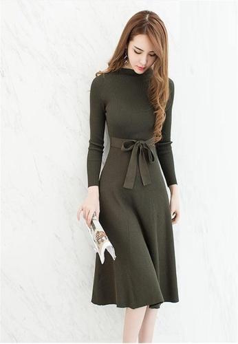 Crystal Korea Fashion green Slim knit long sleeves dress CR681AA2VGFUHK 1 17757ba8e