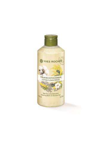 Yves Rocher beige Relaxing Cotton Flower Mimosa Shower Gel 400ml B0EFCBE0597471GS_1