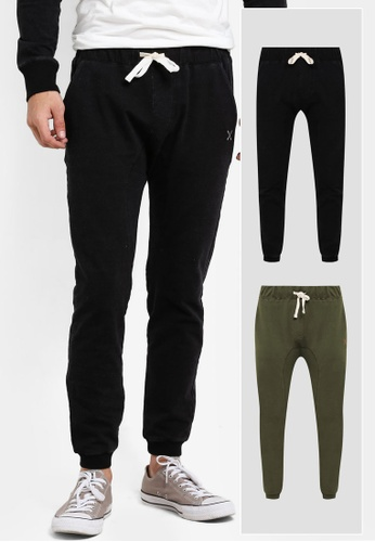 JAXON black and green 2 Pack Logo Slim Fit Joggers JA219AA51GEQMY_1