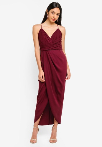 Forever New red Charlotte Drape Maxi Dress DC264AAA0BF68EGS_1