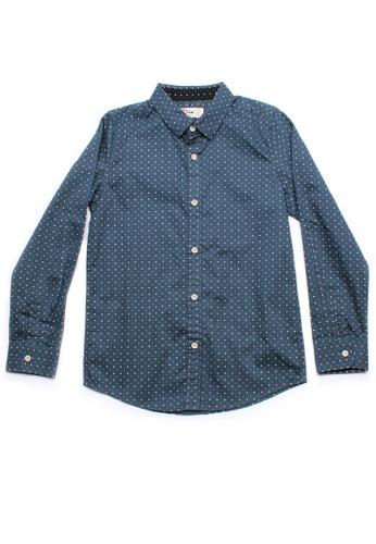Mini Moley blue Digital Pixel Boy's Long Sleeve Shirt C4FF6KA10BA33BGS_1