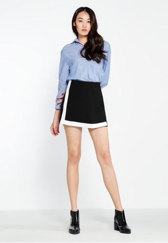 Pomelo black Mercy Two Tone Mini Skirt 09A32AAA4BE0D9GS_1