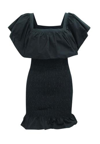 Solid And Striped 黑色 solid and striped 黑色露肩紋理連衣裙 9D4EBAAEEB32C6GS_1
