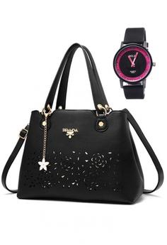 634e6d3446 Stylebox black KLY-16051 Elegant Fashion Flower Design Handbag  848EFACFB753A5GS 1