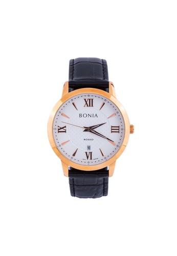 BONIA black Bonia Rosso - BR166-1513 - Jam Tangan Pria - Black Rosegold 2D25CAC05EB4F6GS_1