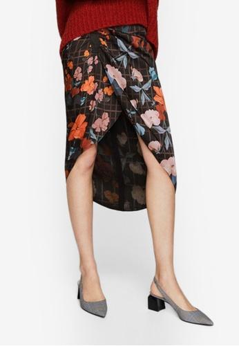 Mango black Mixed Print Skirt 3888AAA44E719DGS_1