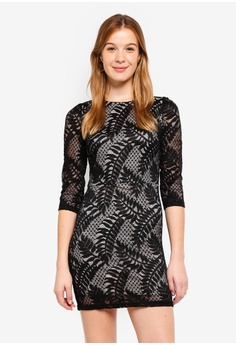 eeaecf4868a48 Dorothy Perkins black Black Leafy Lace Bodycon Dress 14F06AACCAB8E9GS_1