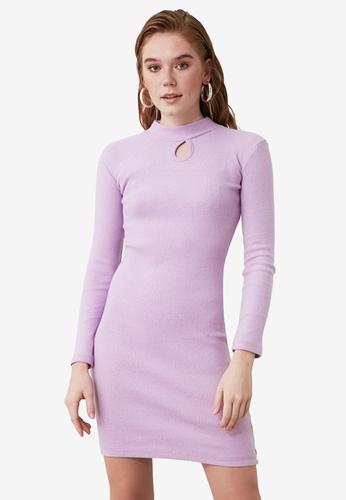 Trendyol purple Droplet Cut Out Detail Knit Dress F0639AA871DA6BGS_1