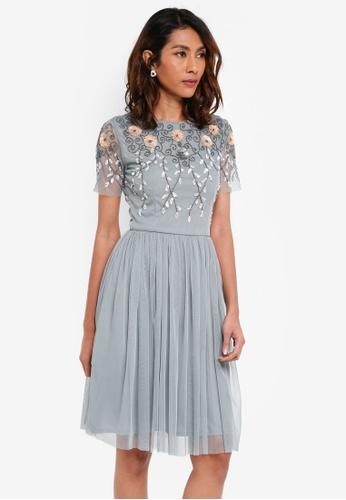 Lace & Beads grey Neesa Skater Dress 38239AA44C735BGS_1