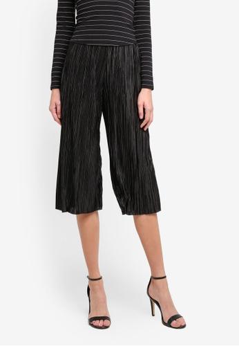 Miss Selfridge black Petite Plisse Trousers MI665AA0STCWMY_1