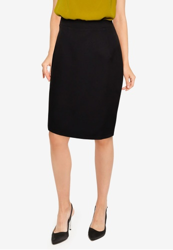 ZALORA WORK black Pleat Front Knee Length Skirt F6829AA610CCB1GS_1