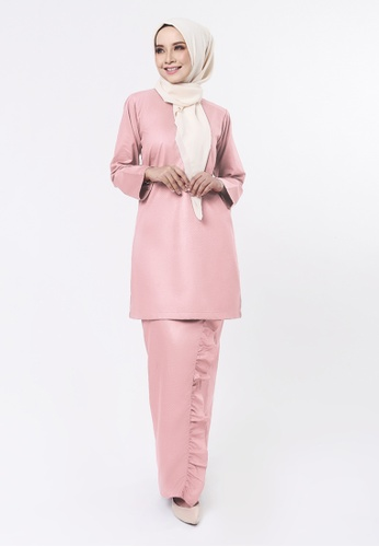 EMBUN Basic Kurung Dusty Pink from Inhanna in pink_1