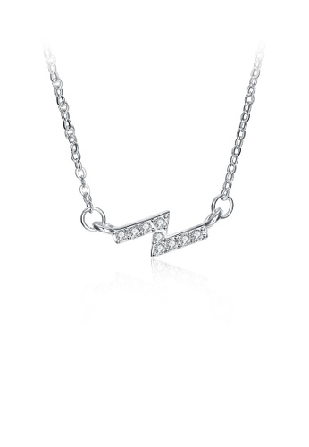 Glamorousky white Simple Creative Lightning Necklace with White Cubic Zircon 33C02ACCF9785DGS_1