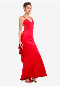 8b6dd481f53 Goddiva Fishtail Maxi Dress With Open Back And Waterfall Frills S  101.90.  Sizes 8 10 12