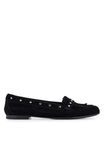 Minelli black F61 128/VEL Fringed Suede Loafers - Lune MI352SH0FJF4SG_1