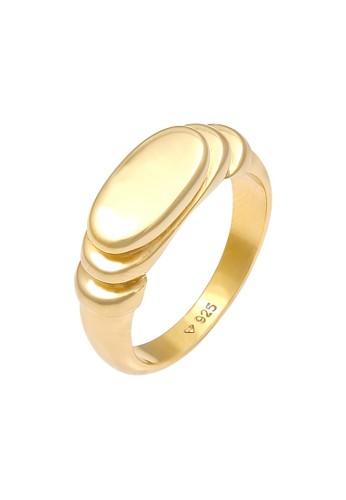 Elli Germany gold Perhiasan Wanita Perak Asli - Silver Cincin Signet Polished Oval Lapis Emas CAFE1ACB6CDF3BGS_1