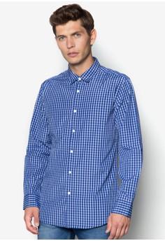 Micro Collar Checked Long Sleeve Shirt