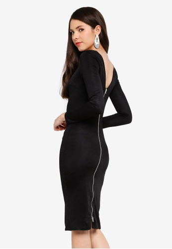 Goddiva black Long Sleeved Fitted Midi Dress With Zip Detail 77544AAE8EB98BGS_1