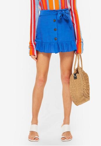 TOPSHOP blue Petite Flippy Skirt 378BCAAC20257DGS_1