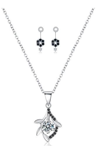 A-Excellence white Premium Elegant White Sliver Necklace Earring Set 581A4ACFC50242GS_1