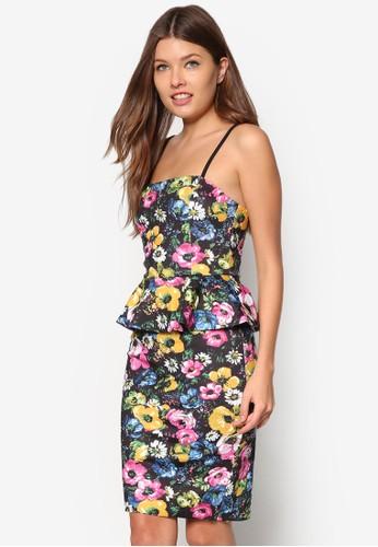 花zalora 心得卉圖案腰飾洋裝, 服飾, 服飾