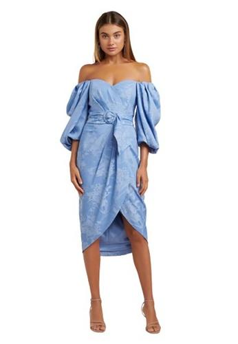 Ever New blue Elmira Puff Sleeve Midi Dress 71197AAFB61798GS_1