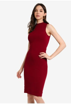 688dadfe8641 ZALORA BASICS red Basic Cut-In High Neck Midi Dress AA89CAA5C9D0C8GS_1