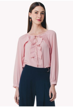9d5ee8746840f3 Nichii pink Pleated Lapel Blouse 1DD46AAC3473A8GS_1