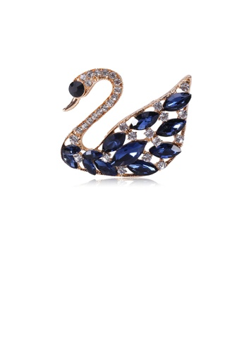 Glamorousky blue Fashion and Elegant Plated Gold Swan Brooch with Blue Cubic Zirconia 6451CAC2FE2E29GS_1