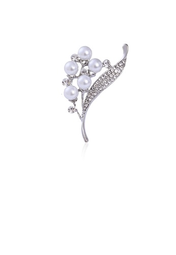 Glamorousky white Fashion and Elegant Floral Imitation Pearl Brooch with Cubic Zirconia 4E2EEACD9202F6GS_1