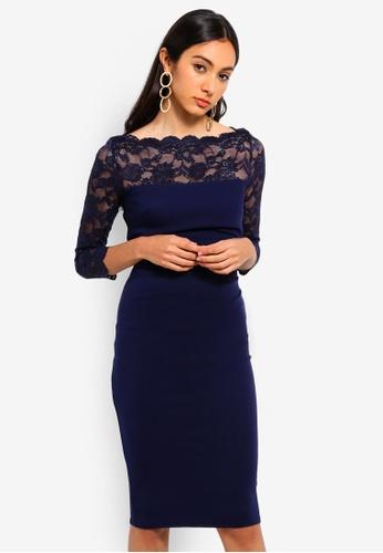 Goddiva 海軍藍色 Fitted Midi Dress With Scalloped Lace Neckline 2FDA5AA055EB3FGS_1