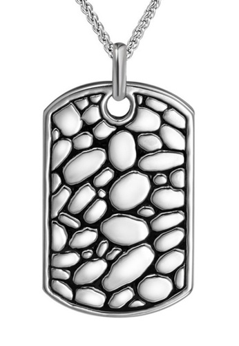 CUFF IT silver Stainless Steel Cobblestone Pattern Necklace 3520EACEE7DB5BGS_1