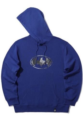 BLOCKAIT blue X Batman emblem print hoodie 84058AA4AB24F5GS_1