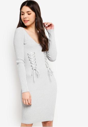 db017e97837 Guess grey Glitz Lace-Up Slim-Fit Sweater Dress 8E480AA1D7832BGS 1