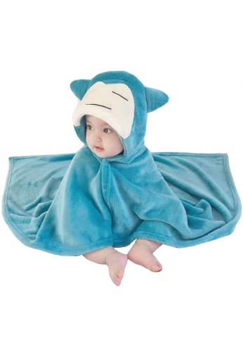 Kiddies Crew white and green and blue and multi Pokemon Snorlax Cartoon Hoodie Cape Towel/ Blanket/ Jacket E0EB8KC3DDA530GS_1