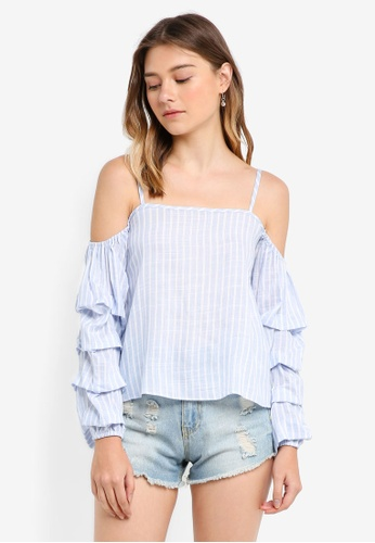 Something Borrowed blue Stacked Sleeves Cold Shoulder Top C3EB2AA6F98BD1GS_1