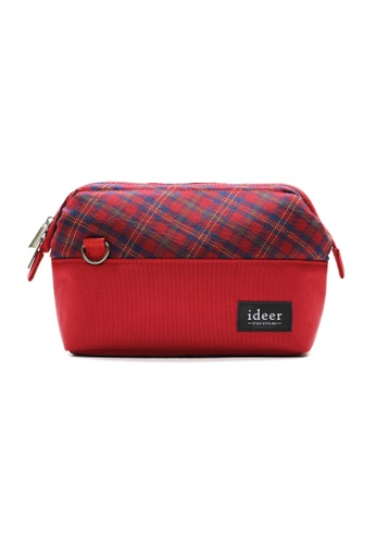 ideer red Selden Strawberry Mirrorless Tartan Check Camera Cross Bag ID808AC02KQZPH_1