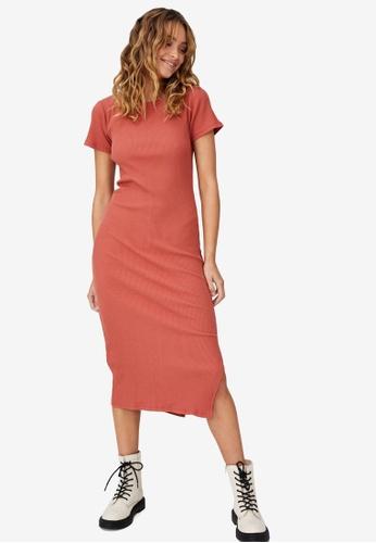 Cotton On red Essential Split Short Sleeve Midi Dress 31B05AA6A01209GS_1