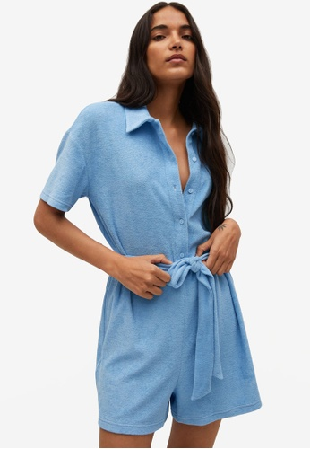 Mango blue Towel Texture Cotton Jumpsuit C0F32AA17E07C6GS_1