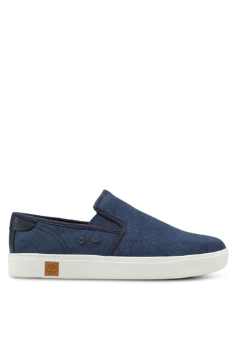 Timberland blue and navy Amherst Double Gore Slip Ons 0BB02SHD9F852DGS_1