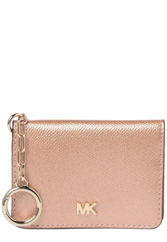 MICHAEL KORS gold Michael Kors Leather Key Ring Card Holder in Ballet 6758EAC4BA338BGS_1